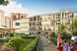 3D-визуализация торгового центра реутов-парк в микрорайоне новокосино-2