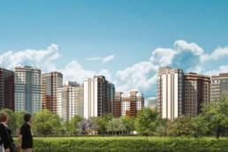 3D-визуализация проекта новокосино-2 жилые строения проекта европа