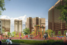 3D-визуализация проекта новокосино-2 детские площадки