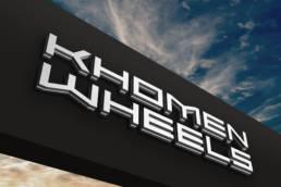 вывеска с объёмными буквами khomen wheels