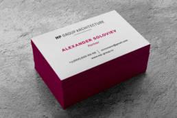 визитные карточки высокой печатью архитектурной компании