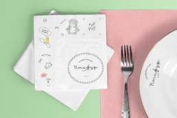салфетки бумажные брендированные детского кафе птифур