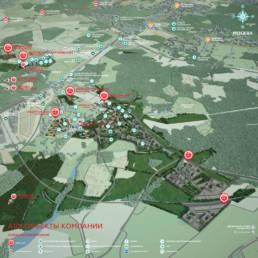 Объекты строительства компании А101 на карте Москвы (трёхмерные объекты с размещённой инфографикой)