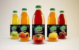 Серия этикетов бутилированных соков