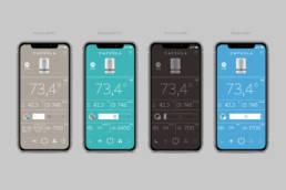 варианты цветового решения мобильного приложения воздухоочистительного прибора Capsula