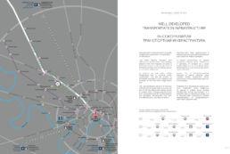 Карта инвестиционной привлекательности объекта недвижимости, сделанная в стиле инфографики для имиджевой брошюры